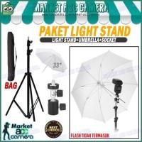 Paket Light Stand Studio (Light Stand + Flash Shoe C + Umbrella White)