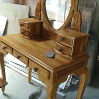 Meja rias canti kayu jati asli