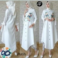 hijab muslim wanita blouse outfit hem kemeja blus long tunik putih
