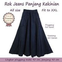 Rok Panjang Payung Jeans Denim Pinggang Karet Besar XXL Rok Maxi Lebar