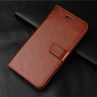OPPO Realme C1 Leather Case Casing Kulit Flip Wallet Cover - Cokelat