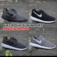 nike rosherun - import, sepatu sneakers, seaptu kets, sepatu pria - Abu Motif Hitam, 39