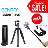 BENRO iSmart IS05 Travel Camera Tripod Free Holder Smartphone