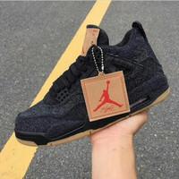 Sepatu Sneakers Nike Air Jordan 4 x Levis Black Denim