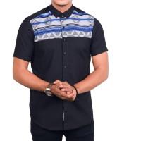 kemeja pria casual motif tribal kombinasi hitam / kemeja cowo