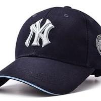 Topi Baseball Lengkung Motif NY Newyork Yankees Biru Navy/Dongker