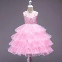 Dress Pesta Anak Import. Dress Pink Brukat Ruffle 7-10thn