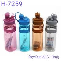 Botol Minum Sport - Botol Minum Air Straw Water Bottle H-7259 Abu-abu