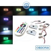 Plafon LED Mobil 15 Mata RGB Remote, LED Dome Plafon Mobil Wireless