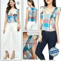 Baju atasan crop ANTHROPOLOGIE plaid top branded murah