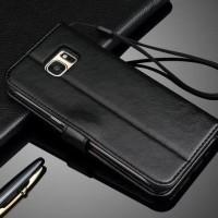 FLIP COVER WALLET Casing Samsung Galaxy S7 Flat Edge S8 S8+ Plus