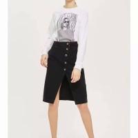 Rok Midi Jeans Black Denim Button Stylish (L) Import Original