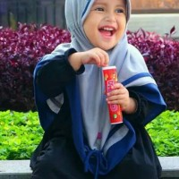 Nibras Hijab Cute #5 Kerudung Jilbab Bayi Anak Warna Abu Bahan Kaos PE