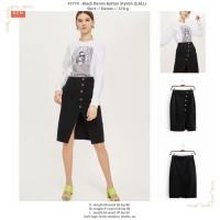 47774 Black Denim Button Stylish Skirt / Rok Midi Hitam