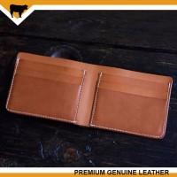 Dompet pria kulit asli handmade vintage bifold wallet brown tan