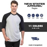 Kaos Polos New States Premium Cotton Raglan 3/4 7260 Size S M L XL