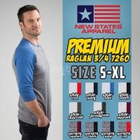 Kaos Oblong New States Premium Cotton Raglan 3/4 7260 Size S M L XL