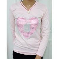 Baju Kaos Wanita Fashion Korea Hiasan Kristal Apple Heart