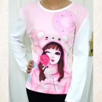 Baju Kaos Wanita Fashion Korea Lollipop Girl