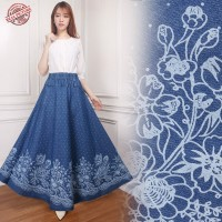 Monic Rok Jeans Maxi Panjang Wanita Jumbo Fit To XL