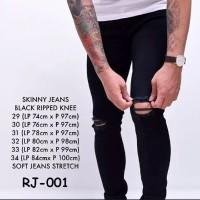 Celana Pria keren | Jeans sobek Pria | Celana Robek robek - Hitam, 29