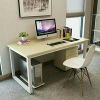 Meja kerja/Meja kantor/Meja belajar dengan alas CPU dan nakas/drawer