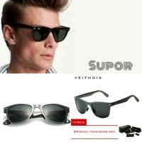 W Kacamata Sunglasses Veithdia Polaroid Pria kacamata Polarized HITAM