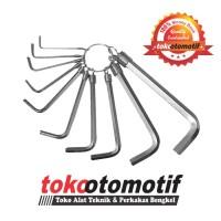 Kunci L Set 10 Pcs Chrome / Hex Key Wrench / Tool Kit Sepeda