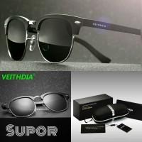 CM Kacamata Sunglasses Veithdia Polaroid Pria kacamata Polarized HITAM