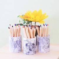 Pensil Warna dan Floral DIY Masking Tape and Coloring Pencils Set