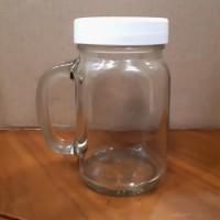 Gelas Jar kaca 450 ml plus tutup ulir plastik putih / Gelas Jus dll