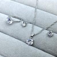 Set Perhiasan Kalung Anting Cincin Berlian Silver Platinum- BR038