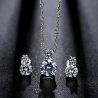SET Perhiasan (Kalung Anting Cincin) Berlian Lapis Platinum - BR0038 M