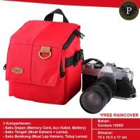 Tas Camera DSLR Eibag 1764 Red Kamera Canon / Nikon / Fujifilm / Sony