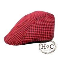 Houseofcuff Topi Painter Topi Pelukis PAINTER HAT DARK RED HOUNDSTOOTH - Merah