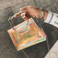 tas selempang wanita hologram transparan sling bag bta404