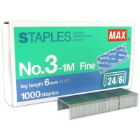 Isi Staples Max no. 3 - 1M 24/6 Steples Hekter Besar 20 Pak