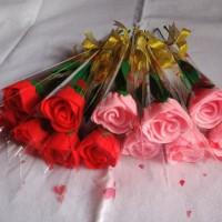 Buket bunga mawar flanel satuan untuk hadiah wisuda, dll