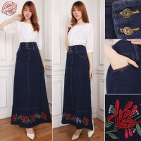 Sweet Rok jeans maxi panjang wanita jumbo fit to XL