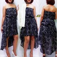 The Arte - Decollete Black floral Dress Brand murah