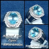 CINCIN BATU PERMATA NATURAL SWISS BLUE TOPAZ LONDON RING ALPAKA