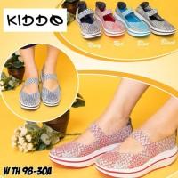 Kiddo wth98-30a sepatu IMPORT anyaman wedges rajut wanita ORI