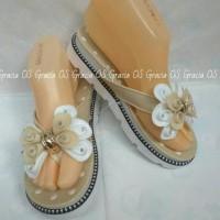 Jelly Wedges Premium Twin Flower Diamond - Sepatu wedges Sandal karet