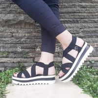 NEW Isabel BIANCA Sepatu Sandal Wanita Wedges Black Hitam .