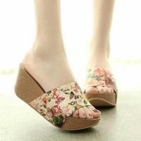 Grosir sepatu wedges bunga wanita murah / ecer sport / kets / spon