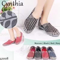 Cynthia 42008 ORI sepatu wanita anyaman rajut flat wedges slip on