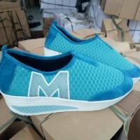 Grosir sepatu wedges M wanita murah/ecer baru sport/kets/casual biru