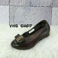 Sepatu Wanita Clarks Wedges Square Coklat / Sepatu Kerja Wanita