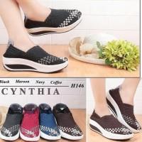 Cynthia H146 sepatu anyaman wedges rajut wanita ORI