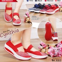 Cynthia h013 sepatu anyaman wedges rajut wanita ORI